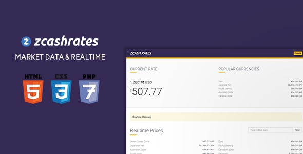 zCash Rates - Historical Market Data + 163 Currencies in Realtime