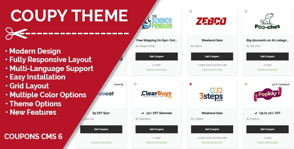 Coupy Theme for Coupons CMS - CodeCanyon Item for Sale