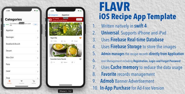 Flavr - iOS Recipe App Universal Template - CodeCanyon Item for Sale
