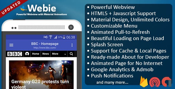 Webie - Animated WebView App for Android with Push Notification, AdMob & Lots of Animations