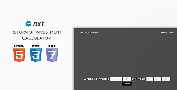NXT ROI Calculator - CodeCanyon Item for Sale