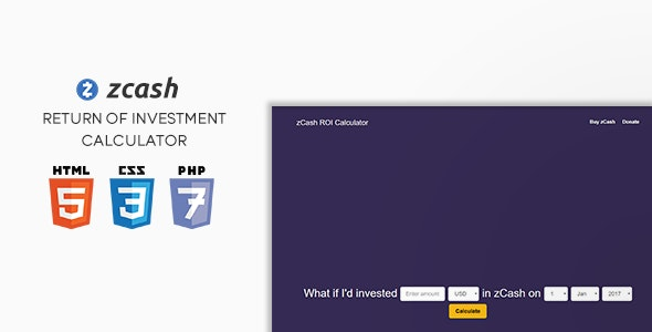 zCash ROI Calculator - CodeCanyon Item for Sale