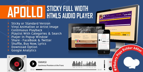 Apollo - Sticky Full Width HTML5 Audio Player for WPBakery Page Builder (formerly Visual Composer) - CodeCanyon Item for Sale