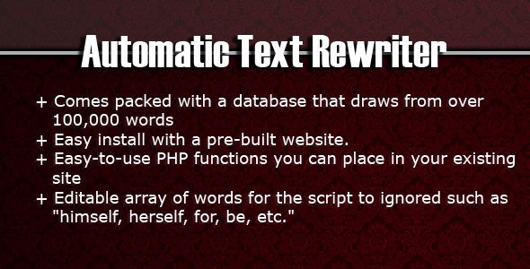 Automatic Text Rewriter - CodeCanyon Item for Sale