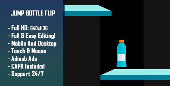 Jump Bottle Flip - HTML5 Game + Mobile Version! (Construct-2 CAPX)