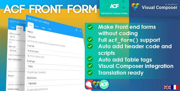ACF Front Form with Visual Composer Integration - CodeCanyon Item for Sale
