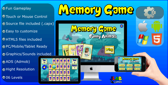Memory Game Funny Animals - Educational Games (HTML5 and MOBILE)