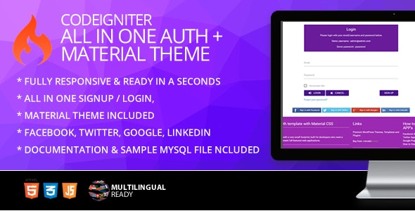 CodeIgniter ion-auth Template With Materialize Theme - CodeCanyon Item for Sale