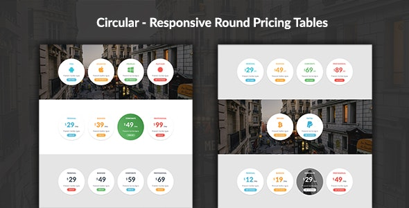 Circular - Responsive Round Pricing Tables by adamthemes | CodeCanyon