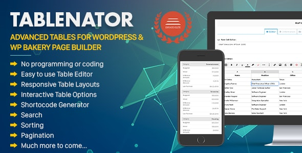 Tablenator - Advanced Tables for WordPress & WP Bakery Page Builder - CodeCanyon Item for Sale