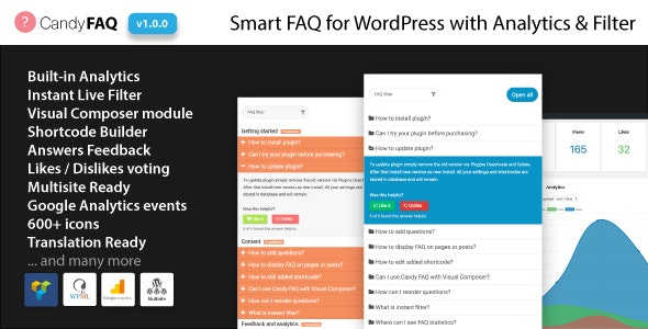 Candy FAQ - Smart WordPress FAQ with Analytics and Instant Search - CodeCanyon Item for Sale