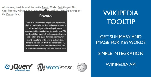 Wikipedia Tooltip (Summary, Image) for Keywords in Wordpress (Pages, Posts) - CodeCanyon Item for Sale