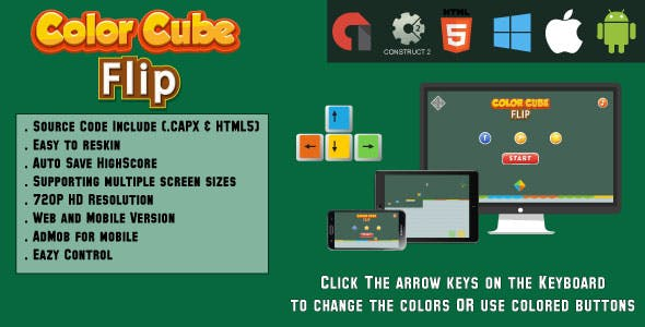 Color Cube Flip - HTML5 Game - (.CAPX & HTML)