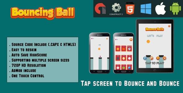 Bouncing Ball jump- HTML5 Game - Mobile - ( CAPX & HTML5) by