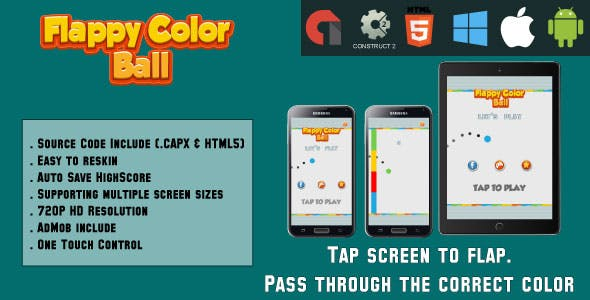 Flappy Color Ball - HTML5 Game - Mobile - (.CAPX & HTML)