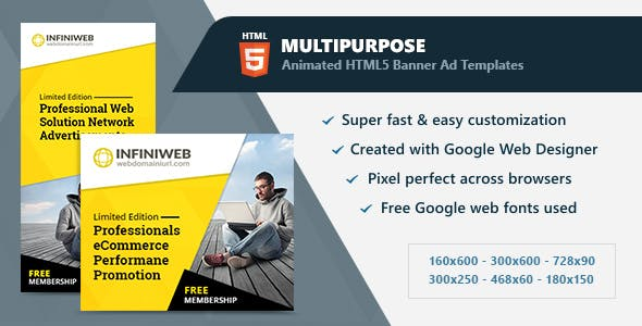 Multipurpose Animated Banner Ads HTML5 (GWD)