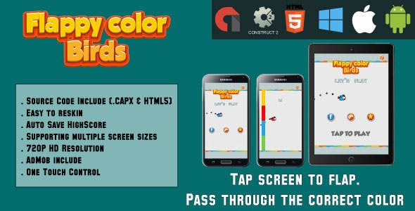 Flappy color birds - HTML5 Game - Mobile - (.CAPX & HTML)