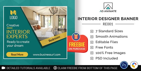 Real Estate Interior Designer Banner Re001 By Adanimate