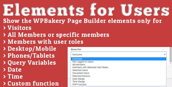 Elements for Users - Addon for WPBakery Page Builder (formerly Visual Composer)