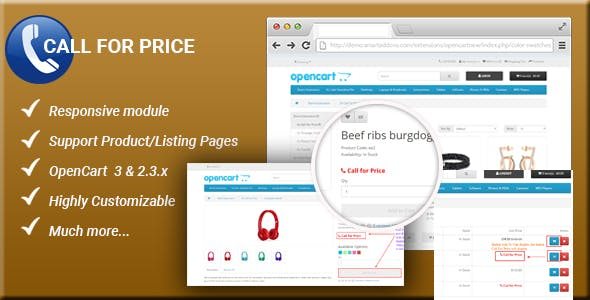 Call For Price - Responsive Enabled/Disabled Add to Cart button OpenCart 3 & 2.3.x Module
