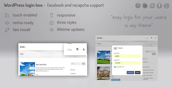 Login lightbox wordpress - easy login / register with facebook, buddypress and  recapcha support