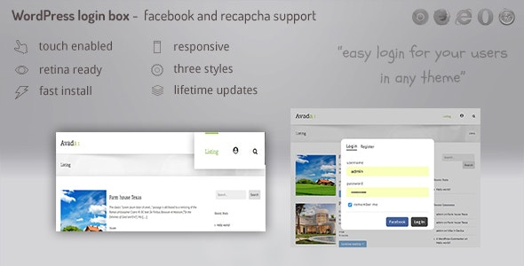 Login lightbox wordpress - easy login / register with facebook, buddypress and  recapcha support - CodeCanyon Item for Sale