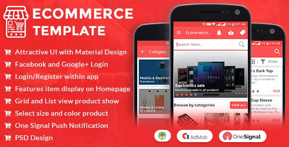 Ecommerce UI Android Template App with Material Design