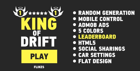King Of Drift - HTML5 game, mobile, ADS, cocoon, leaderboard, constr2-3 - CodeCanyon Item for Sale