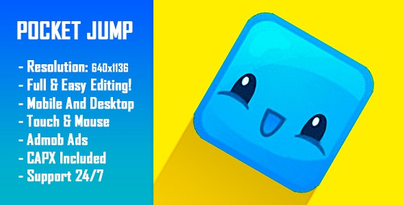 Pocket Jump - HTML5 Game + Mobile Version! (Construct-2 CAPX) - CodeCanyon Item for Sale