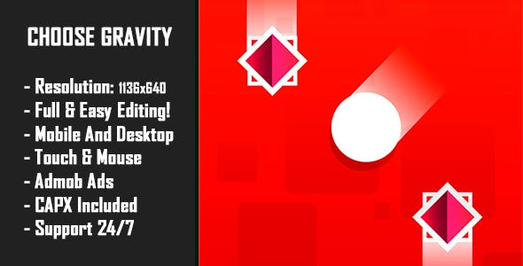 Choose Gravity - HTML5 Game + Mobile Version! (Construct-2 CAPX)