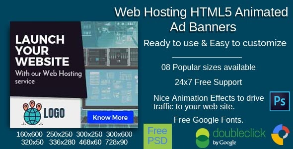 Web Hosting HTML5 Ad Banners-08 Sizes - CodeCanyon Item for Sale
