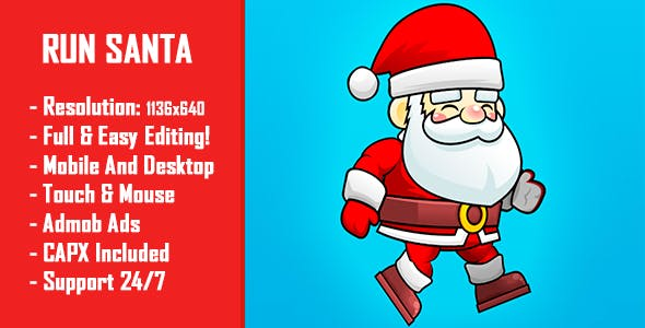 Santa Runner - HTML5 Game + Mobile Version! (Construct-2 CAPX)