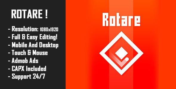 Rotare - HTML5 Game + Mobile Version! (Construct 2 / Construct 3 / CAPX)