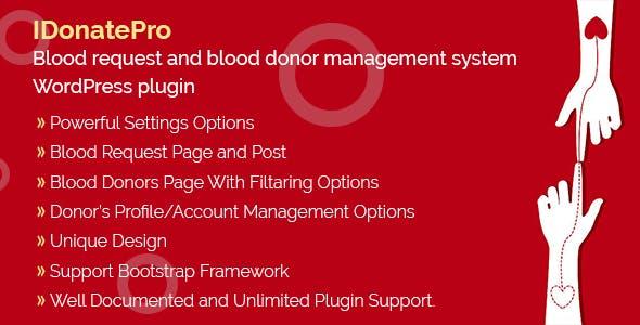 IDonatePro - Blood request and blood donor management system WordPress plugin