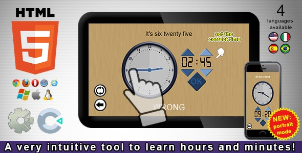 Adjust the Clock! - HTML5 Educational Game - CodeCanyon Item for Sale