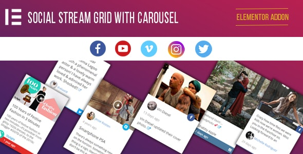 Elementor Page Builder - Social Stream Grid With Carousel - CodeCanyon Item for Sale