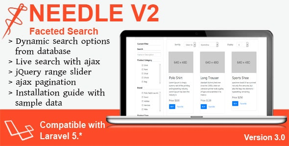 Needle V2 - Laravel Faceted Search by smartrahat | CodeCanyon