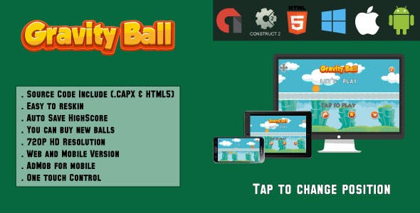 Gravity Ball - HTML5 Game (.CAPX & HTML)