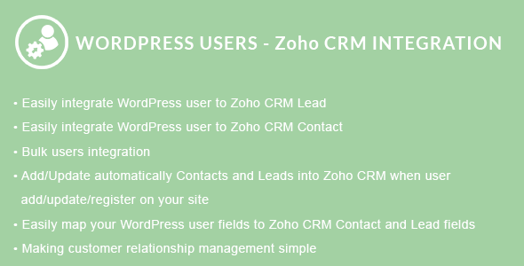 WordPress Users - Zoho CRM Integration