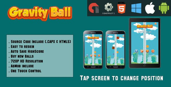 Gravity Ball - HTML5 Game - Mobile Version (.CAPX & HTML)