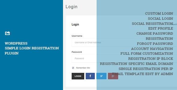 WordPress Simple Login Registration - CodeCanyon Item for Sale