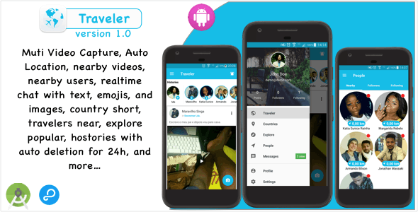 Traveler - Video sharing  social network for travelers with Chat, Followers, Nearby Users and Places