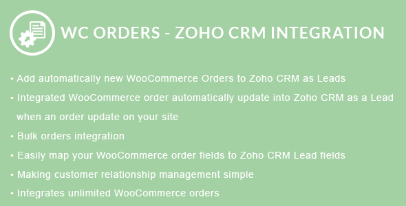 WooCommerce Orders - Zoho CRM Integration