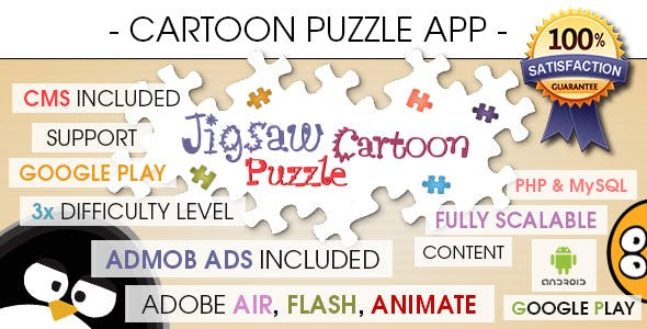 Jigsaw Cartoon Puzzle With CMS & AdMob - Android
