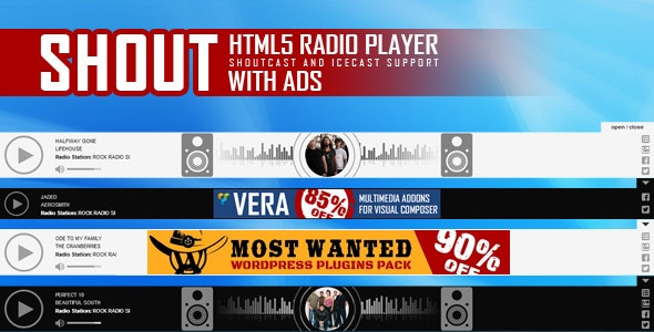 SHOUT - HTML5 Radio Player With Ads - ShoutCast and IceCast