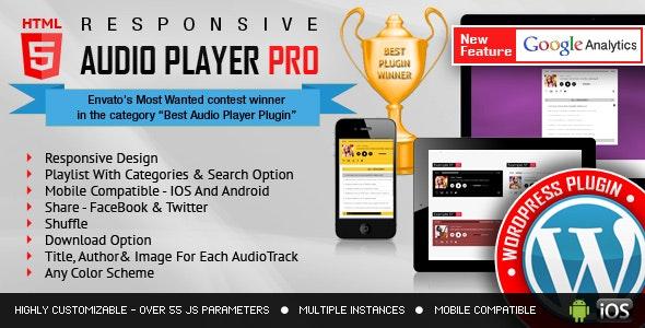 Responsive HTML5 Audio Player PRO WordPress Plugin - CodeCanyon Item for Sale
