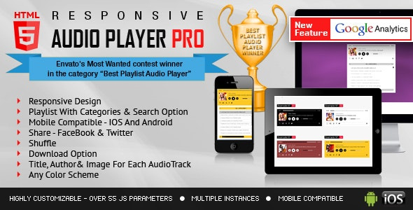 Responsive HTML5 Audio Player PRO With Playlist - CodeCanyon Item for Sale