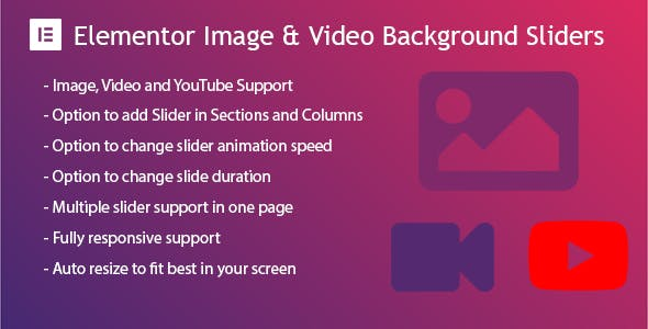 Elementor Background Image & Video Slider