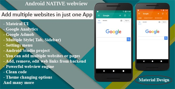 Multi Web App Android Native WebView | WebToApp template with Admob and Push Notifications - CodeCanyon Item for Sale
