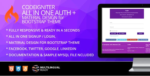 CodeIgniter ion-auth Template With Material Design for Bootstrap Theme